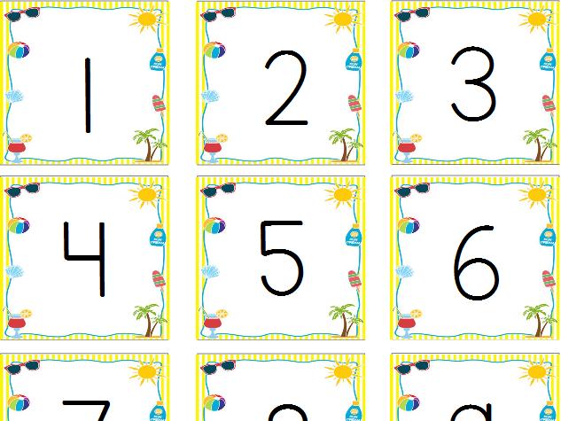 Summertime Calendar Numbers & Names