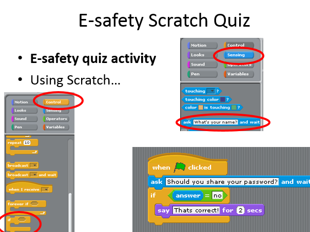 Scratch e-safety quiz builder instructions