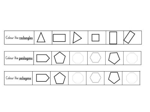 Name and recognise 2D shapes