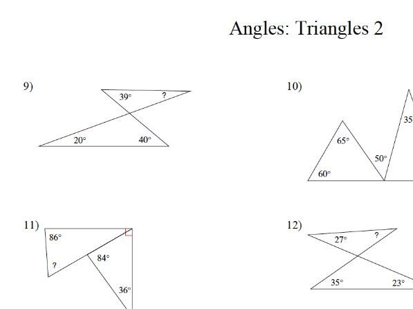 GCSE maths: angles  within triangles worksheet 2