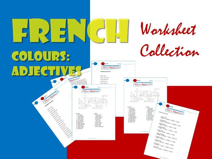 French adjectives  (colours).  Collection of 6 worksheets