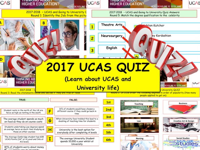 2017 - UCAS QUIZ - Going to University Quiz- 7 rounds and over 40 Questions. End of term Quiz.