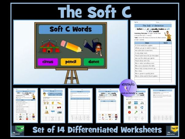 Soft C: Set of 14 Differentiated Worksheets