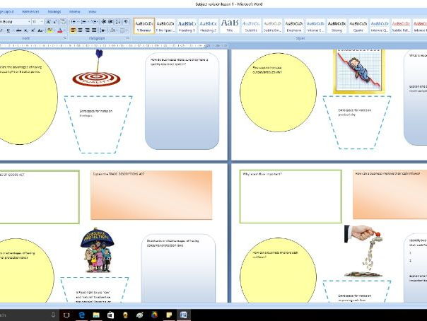 GCSE Business - Subject knowledge revision resource