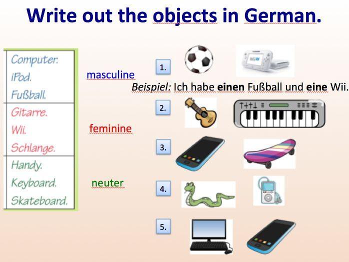 'Ich habe einen/eine/ein' and objects.