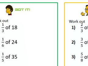 Fraction of Amount Differentiated Worksheet