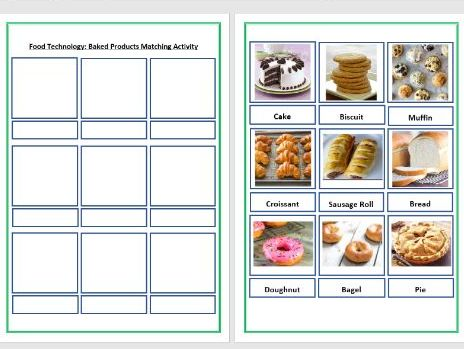 Food Tech - Baking - Sorting Activity