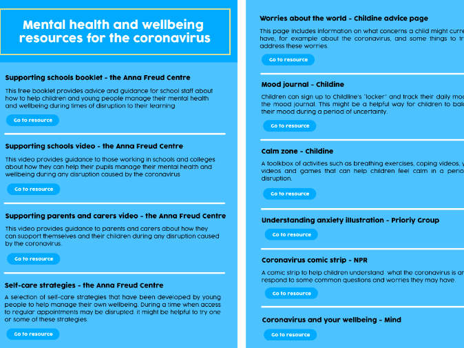 Coronavirus: mental health & wellbeing toolkit
