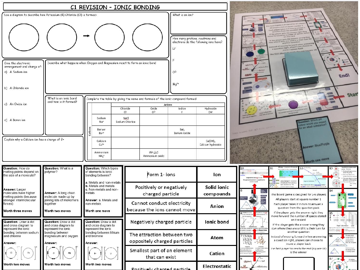 AQA GCSE 9-1 trilogy Chemical bonding revision pack