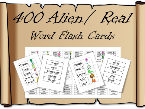 400 Alien / Pseudo Word Flashcards – Phonic Screening check , revision, preparation, year one / two