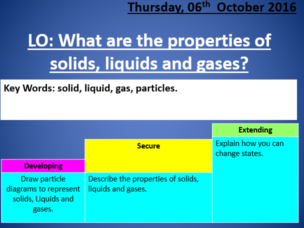 Properties of solids liquids and gases