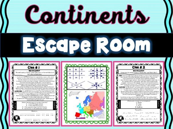 Continents ESCAPE ROOM! NO PREP, PRINT & GO!