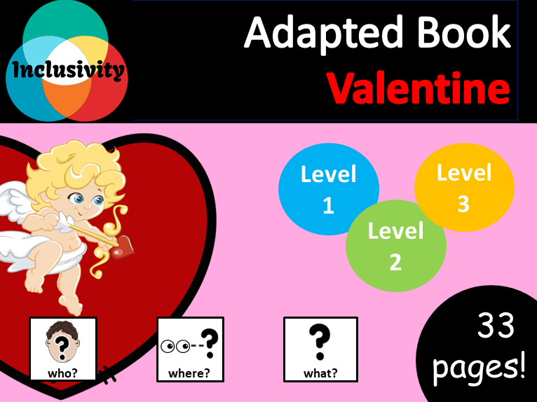 Valentine WHO, WHERE, WHAT? Adapted book preposition Level 1, Level 2 and Level 3