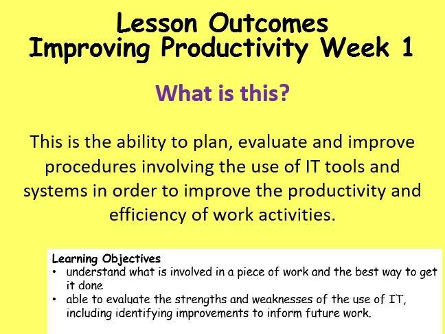 ECDL Improving Productivity Week 1