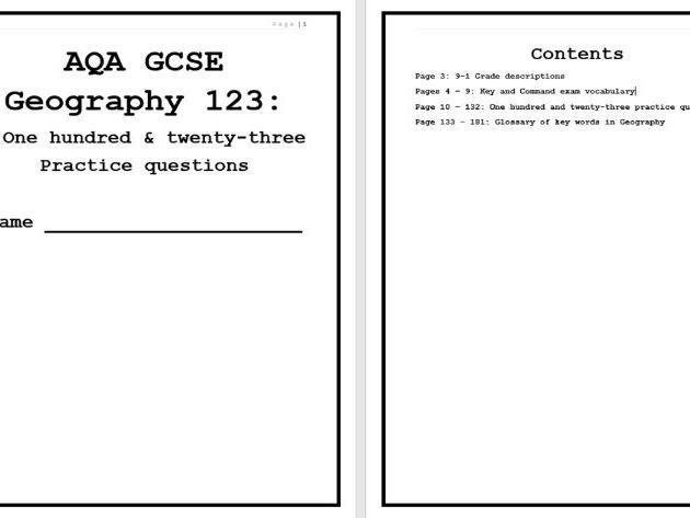 123 AQA GCSE GEOGRAPHY QUESTIONS