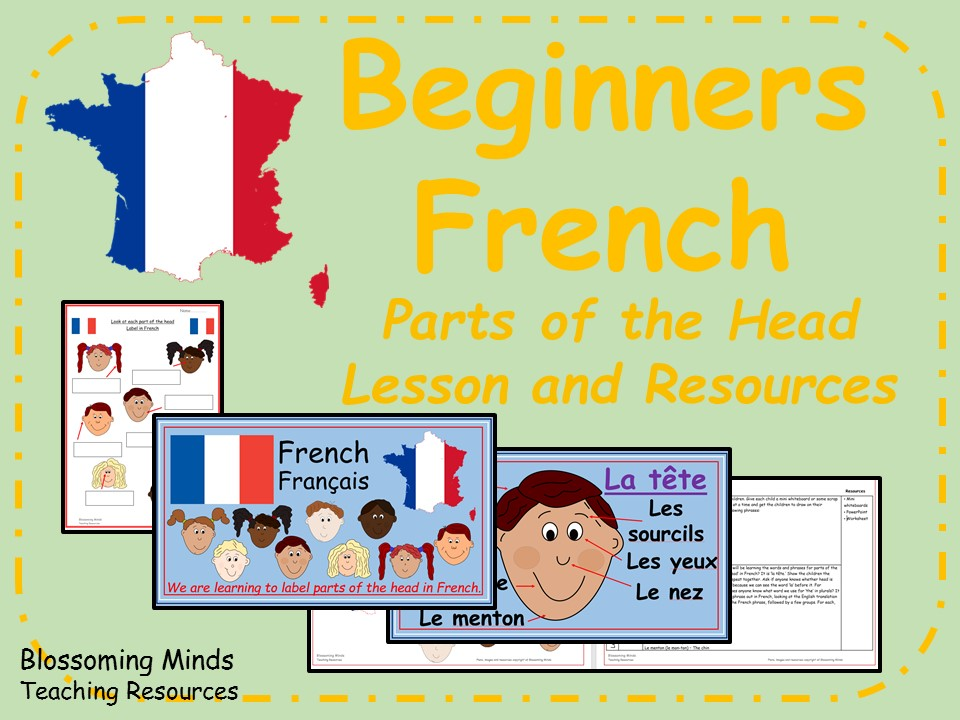 French lesson and resources - Parts of the Head (the face) - KS2