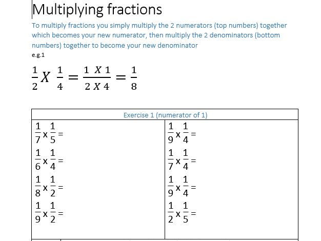 Multiplying fractions (scaffolded for lower ability learners)