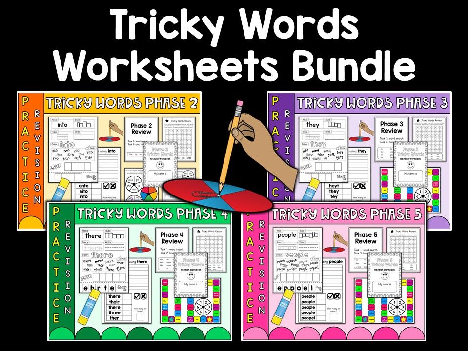 Phonics: Phases 2-5 Tricky Words Practice Sheets