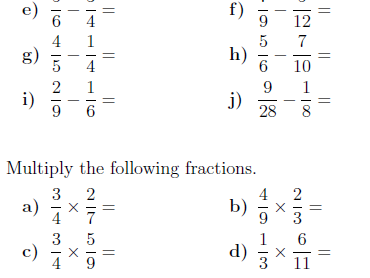 Fractions worksheet (with solutions)