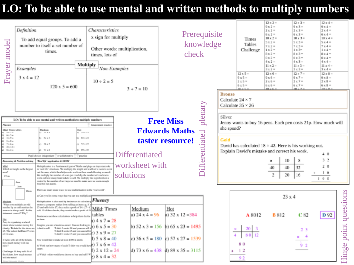 Multiplication - Full lesson - Free resource