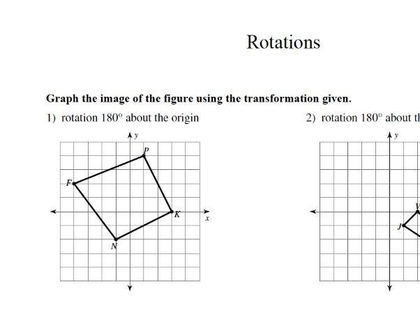 GCSE maths rotations worksheet