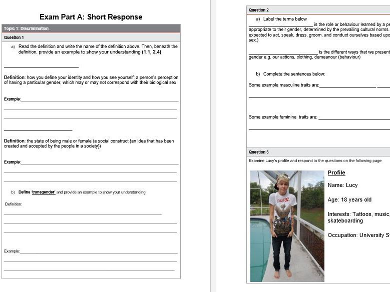 Differentiated QCIA exam  - Social and Community Studies - Gender and Identity Unit