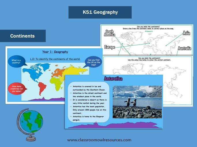 KS1 Geography - Continents Powerpoint & Worksheets