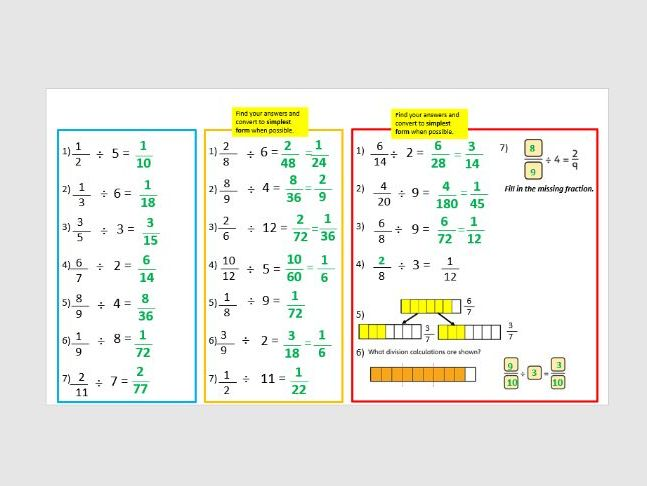 Dividing fractions year 6 four lessons