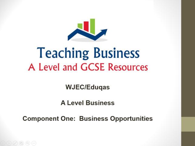 Eduqas Teacher PowerPoint Pack - Component One (Business Opportunities)