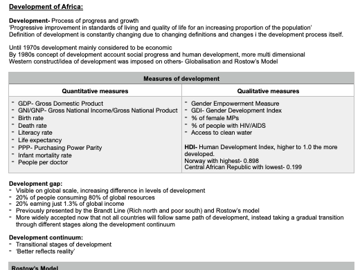 A level Geography- Development of Africa