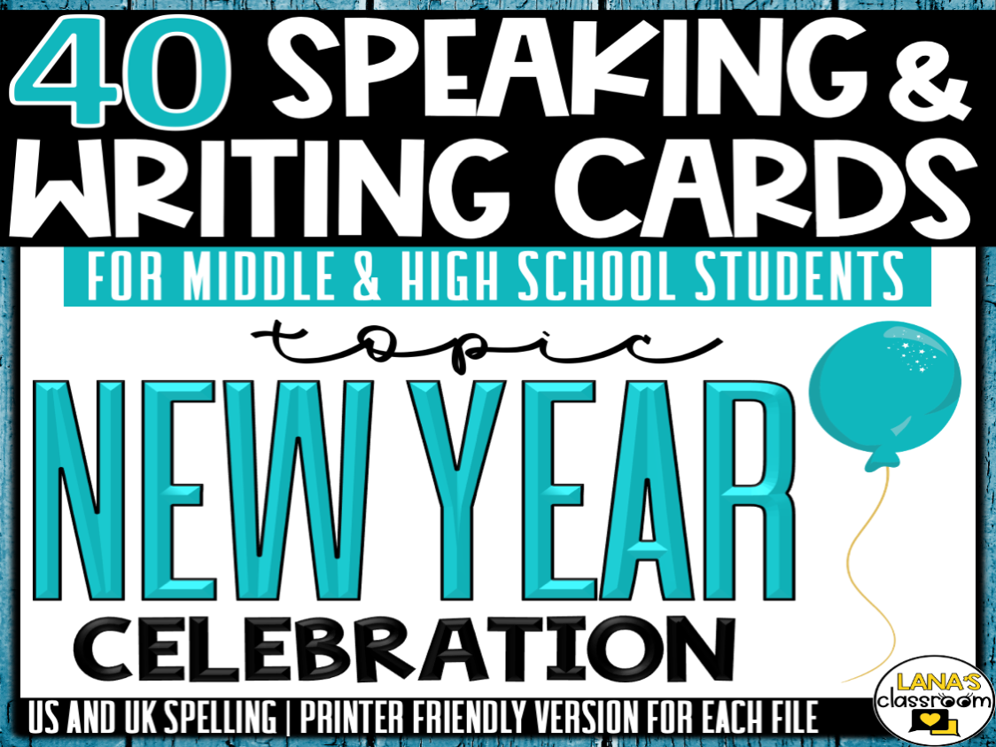 New Year's   ESL/ELL/ELA Speaking and Writing Activities   For Teens   BUNDLE