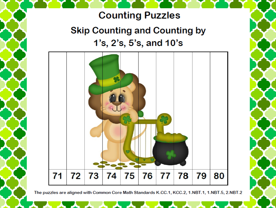 K-1 Counting Puzzles- Counting by 1's, 2's, 5's, and 10's-St. Patrick's Day