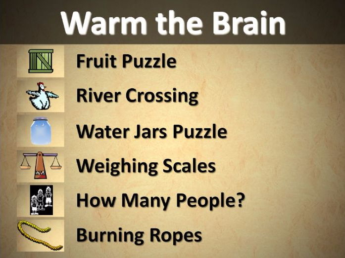 Warm The Brain: Fun Logical Problem Solving Starters