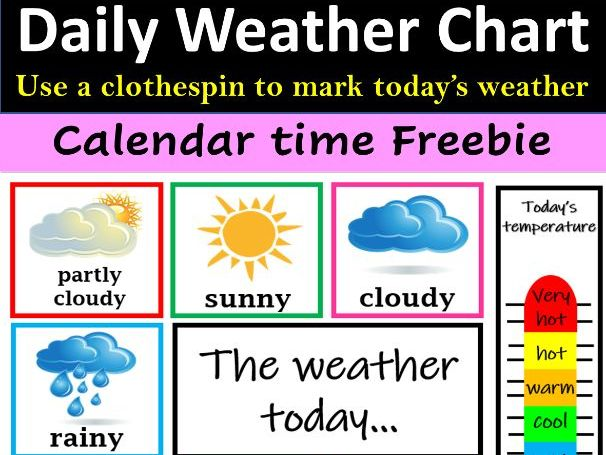 Daily Weather Reporting Chart for Calendar Time - FREE