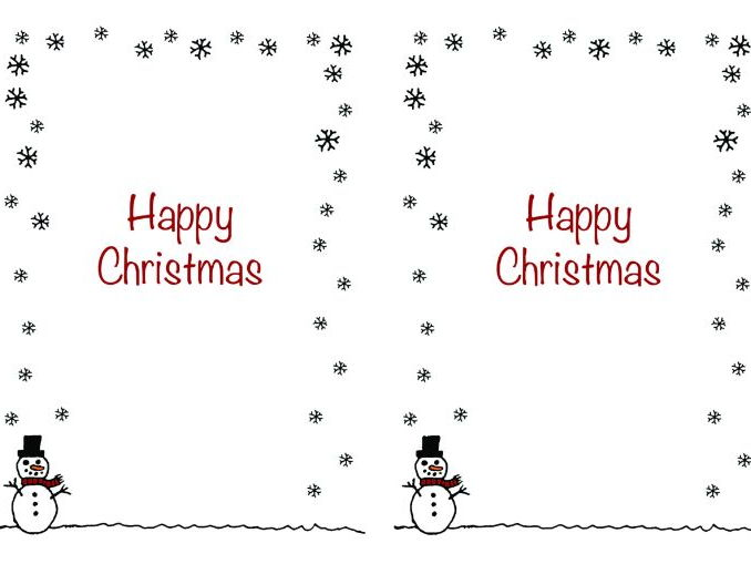 Christmas card insert - snowman design - A5 2 up on a page - portrait design