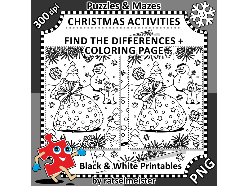 Christmas Activities: Santa's Sack Find the Differences and Colouring Page