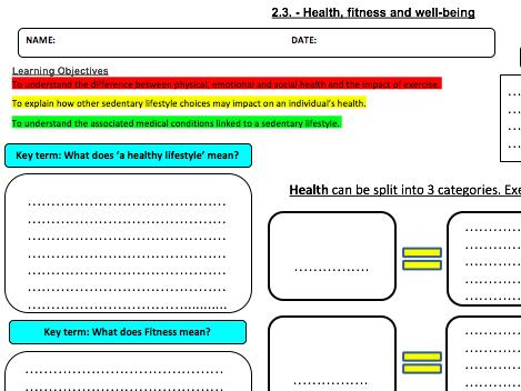 Health & Fitness Learning Mat & Homework 2.3: OCR GCSE PE (2016)