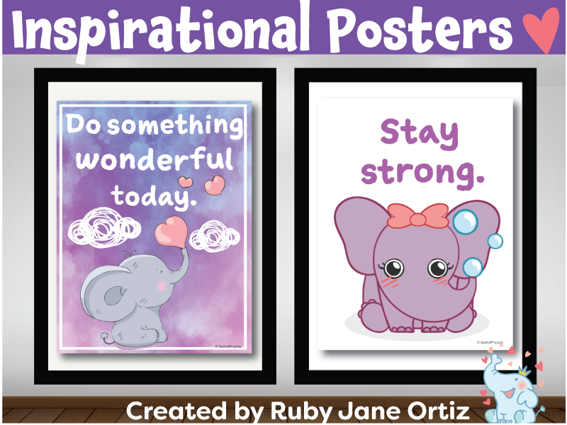 Inspirational Posters (Classroom Decor) for Back to School Bulletin Board - Elephant Theme