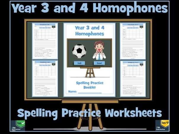 Year 3 and 4 Homophones: 8 Spelling Practice Worksheets - Ideal for Homework