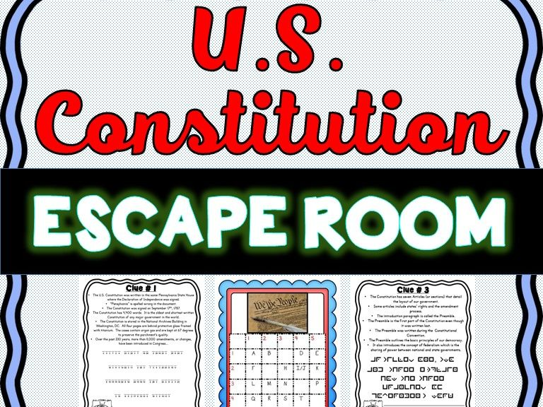 U.S. Constitution Escape Room - No Prep!