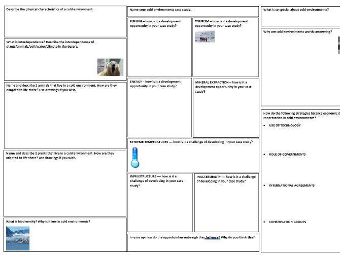 Cold Environments Revision Mat (AQA geog GCSE)
