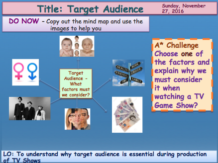 Target Audience and demographics GCSE Media Studies UNIT 1 Media Exams TV Game Shows