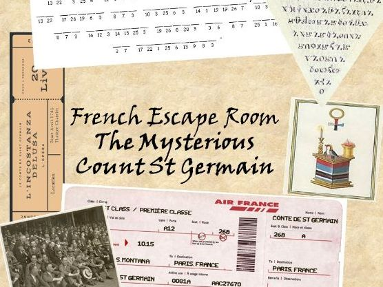Remote Learning French Escape Room activity - Find the immortal Count de St Germain