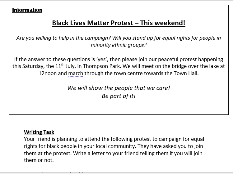 Black Lives Matters Reading and Writing Activities