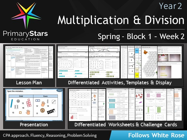 YEAR 2 - Multiplication- White Rose - WEEK 2 - Block 1 - Spring- Differentiated Planning & Resources