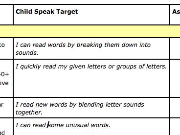 Year 1 Reading Child Speak Targets NC 2014