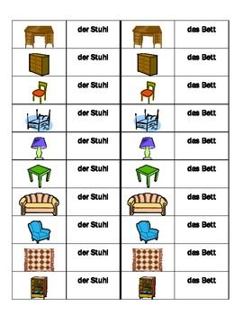 Möbel (Furniture in German) Dominoes