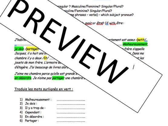 KS4 - House and Home - iGCSE - gap fills / writing tasks (long & short writing practice)