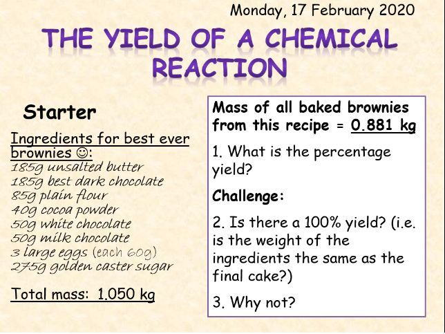 AQA Topic 4 Yield of a Chemical Reaction TRIPLE ONLY