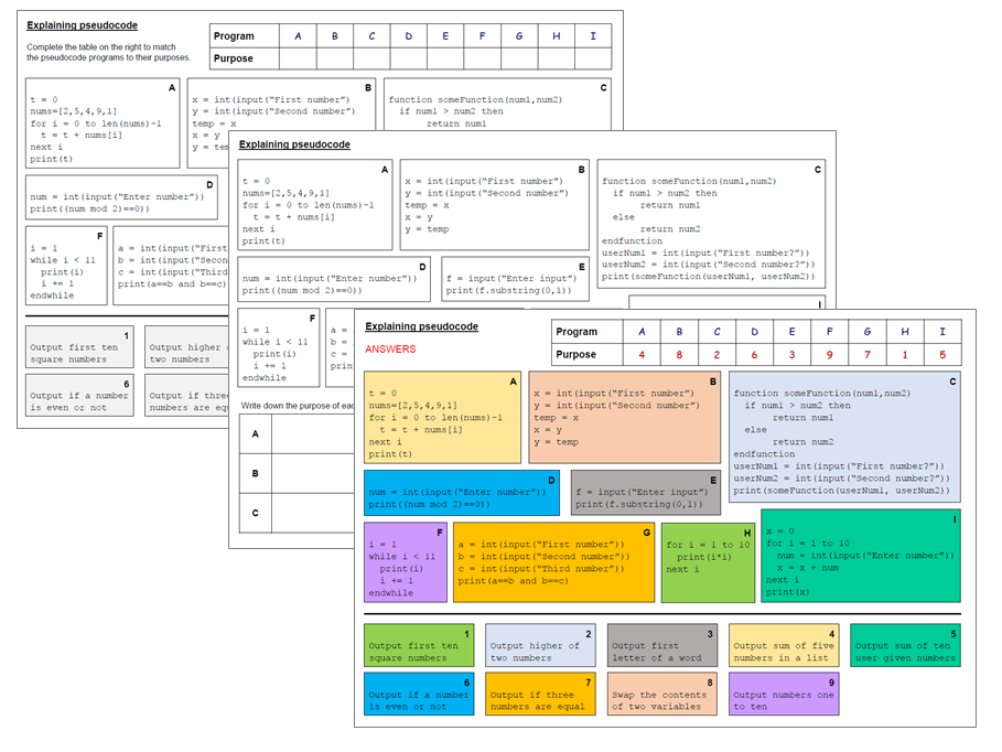 Pseudocode worksheet - Matching algorithms - Ideal lesson starter, plenary or homework